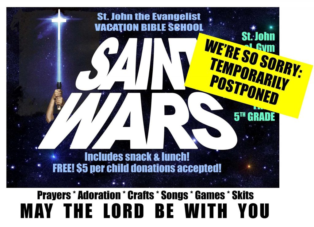 Saint Wars VBS POSTPONE NOTICE